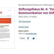 Bundesverband Deutscher Stiftungen Externe Kommunikation von Stiftungen